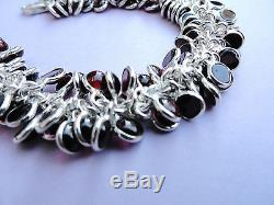 Mint! Silpada Sterling Silver & Garnet Beaded Cha Cha Dna Link Bracelet B1049
