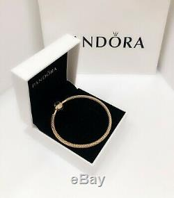 NEW Authentic PANDORA SHINE 18K Gold Mesh Logo Charm Bangle Bracelet 566543