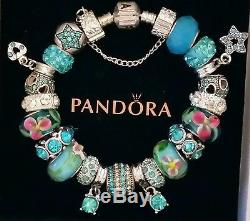 NEW Authentic PANDORA Sterling Silver BRACELET with European CHARMS & Beads #1