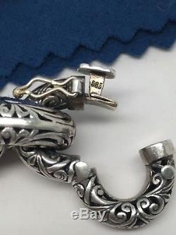 NEW Konstantino. 925 14K Carved Sterling Silver Chunky Bracelet 6.25 wrist NWT