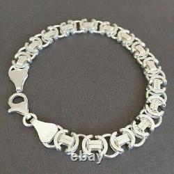 NEW Mens Byzantine Euro King Flat Bracelet 925 Silver Sterling 42GR 8.58 Inch