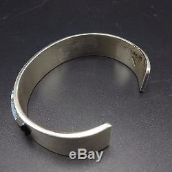 NEW Signed NAVAJO Sterling Silver & TURQUOISE Channel Inlay Cuff BRACELET