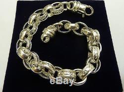 NEW Sterling Silver. 925 Pattern & Plain Belcher Bracelet 28 grams 8 3/4 G1170