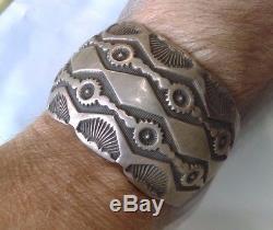 Native American MARC A Hallmark Sterling Silver Stamped Estate Bracelet Navajo