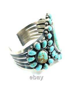 Native American Sterling Silver Navajo Handmade Kingman Turquoise Cuff Bracelet