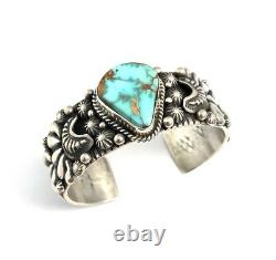 Native American Sterling Silver Navajo Handmade Royston Turquoise Cuff Bracelet