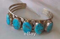 Native American Sterling Silver Turquoise Estate Bracelet Navajo Zuni Vintage