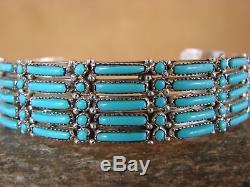 Native American Sterling Silver Turquoise Row Bracelet by Wyaco! Zuni Indian