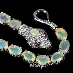 Natural Aaa Rainbow Opal & Cz Sterling 925 Silver Snake Bracelet Size 7