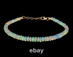 Natural Ethiopian Opal Bracelet 925 Sterling Silver Healing Gemstone Women Gift