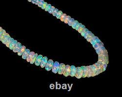 Natural Fire Opal Birthstone Beaded Bracelet in Sterling Silver Handmade Jewelry