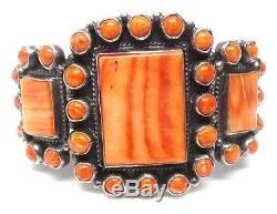 Navajo Handmade Sterling Silver Orange Spiny Oyster Bracelet -Dean Brown