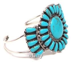 Navajo Handmade Sterling Silver stabilize Turquoise Cluster Bracelet D. Benally