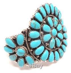 Navajo Handmade Turquoise Cluster Sterling Silver Bracelet -Juliana Williams