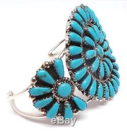 Navajo Handmade stabilize Turquoise Cluster Sterling Silver Bracelet R. Williams