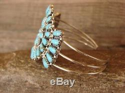 Navajo Indian Traditional Sterling Silver Turquoise Cluster Bracelet Mathilda