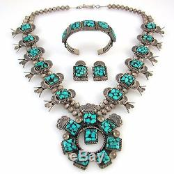 Navajo Sterling Silver Turquoise Squash Blossom Necklace Bracelet Earrings RS