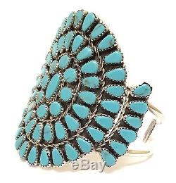 Navajo Turquoise Cluster Sterling Silver Cuff Bracelet By Leander Nez