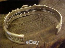 Navajo Vintage Turquoise sterling silver cuff bracelet signed JB