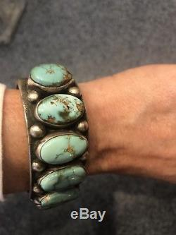 Nelvin Burbank NAVAJO Heavy Hand-Stamped Sterling Silver TURQUOISE Cuff BRACELET