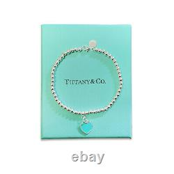 New BLUE Tiffany & Co. Solid Sterling Silver Bracelet with Box Bag & Gift Pouch