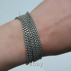 New DAVID YURMAN 8 Row 2.7mm Sterling Silver Box Chain Bracelet 7