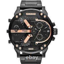 New Genuine Diesel Dz7312 Mr Big Daddy 57mm Black Rose Gold Steel Mens Watch