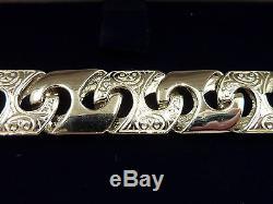 New Heavy Mens Solid Sterling Silver. 925 Patterned link Bracelet 8 27 grams