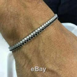 New Men's 2 Row Black And White Diamond 14k White Gold Over Tennis Bracelet 8