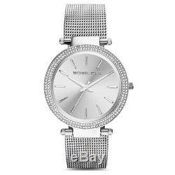 New Michael Kors MK3367 39mm Silver Darci Stainless Steel Mesh Women's Watch