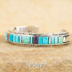 New Navajo Indian Sterling Silver Turquoise Raised Inlay Cuff Bracelet By PEB