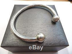 New Solid Sterling Silver. 925 Heavy Torque Bangle 50 grams 12mm balls