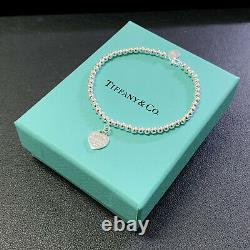 New Tiffany & Co. Solid Sterling Silver Bracelet with Box Bag & Gift Pouch BLUE