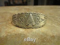 OLD Fred Harvey Era NAVAJO Sterling Silver ARROW HEAD Design Cuff Bracelet