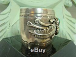 OLD PAWN Native American WIDE Sterling Silver Turquoise Cuff Bracelet Signed T