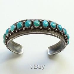 Old Navajo Turquoise Handmade Row Cuff Bracelet in Sterling with Raindrops 25 Gr
