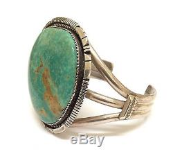 Old Pawn Navajo Handmade Sterling Silver Nevada Turquoise Bracelet Signed AM