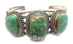 Old Pawn Navajo Handmade Sterling Silver Royston Turquoise Bracelet Signed R