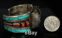 Old Pawn Navajo TURQUOISE & RED CORAL Sterling Silver Watch CUFF Bracelet