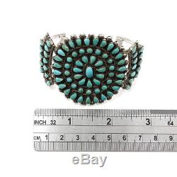 Old Pawn Zuni Handmade Sterling Silver Petit Point Turquoise Bracelet AJB