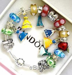 PANDORA 925 Bangle Charm Bracelet and European Charms Disney Princess Dress New