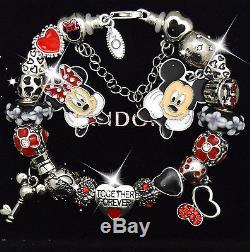 PANDORA Sterling Silver Bracelet Disney Mickey Minnie Red European Charms New