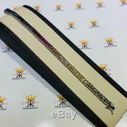 Platinum Sterling Silver Emerald Cut Rainbow Color Sapphire Tennis Bracelet Gift