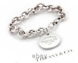 Please Return To Tiffany & Co. Sterling Silver Circle Tag Charm Bracelet 7.5