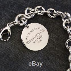 Please Return to Tiffany & Co Round Circle Tag Charm Bracelet Medium 7.5