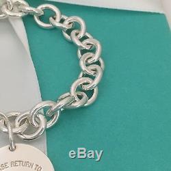 Please Return to Tiffany & Co Silver Round Tag Dangle Charm Bracelet