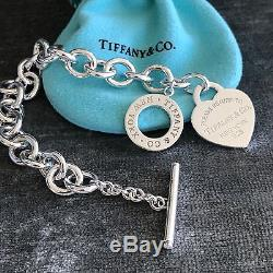 Please Return to Tiffany Sterling Silver Heart Tag Toggle Bracelet NEW VERSION