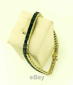 Princess Cut 7.00Ct Black Diamond Tennis Bracelet 8Inch 14k Yellow Gold Over