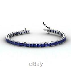 Princess Cut Blue Sapphire Tennis 7.25 Bracelet 14k White Gold Over For Women