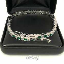 Princess Cut Green Emerald & Diamond Tennis Bracelet 14K White Gold Over 6.75